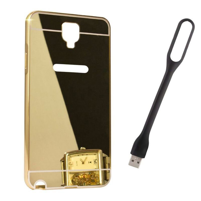 Mirror Back Cover For Samsung Galaxy Note 3 neo + Usb Light free by Style Crome.