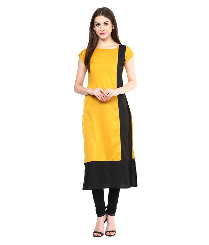 Cyprus Yellow Crepe Straight Kurti
