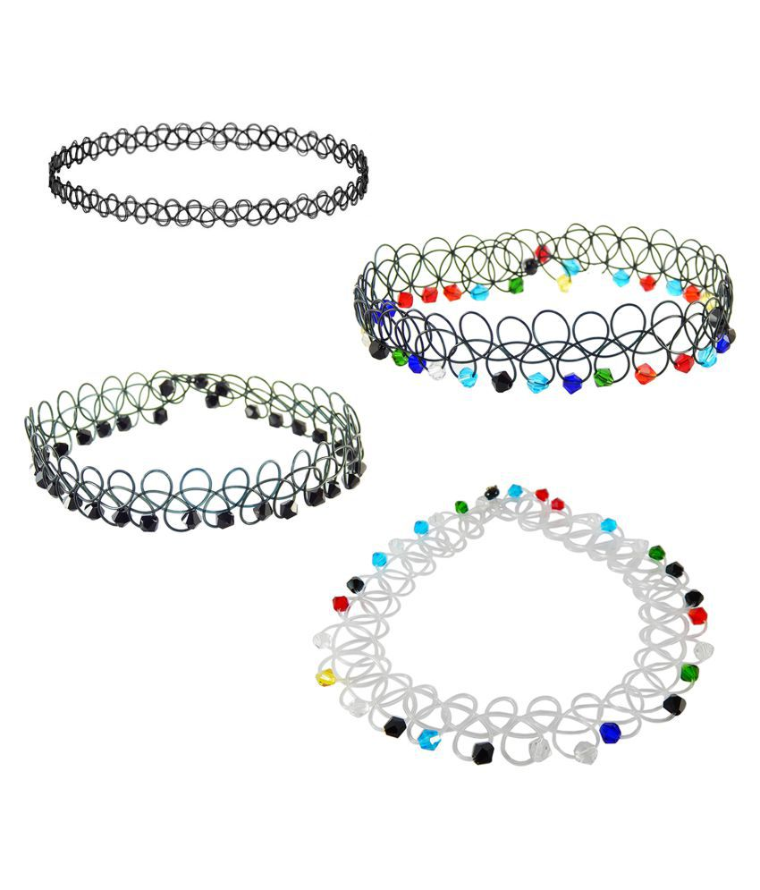 FreshVibes Multicolor Beads Black Choker Necklace Combo - Pack of 4