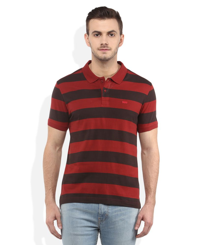 Levis Red Polo Neck T Shirt Buy Levis Red Polo Neck T