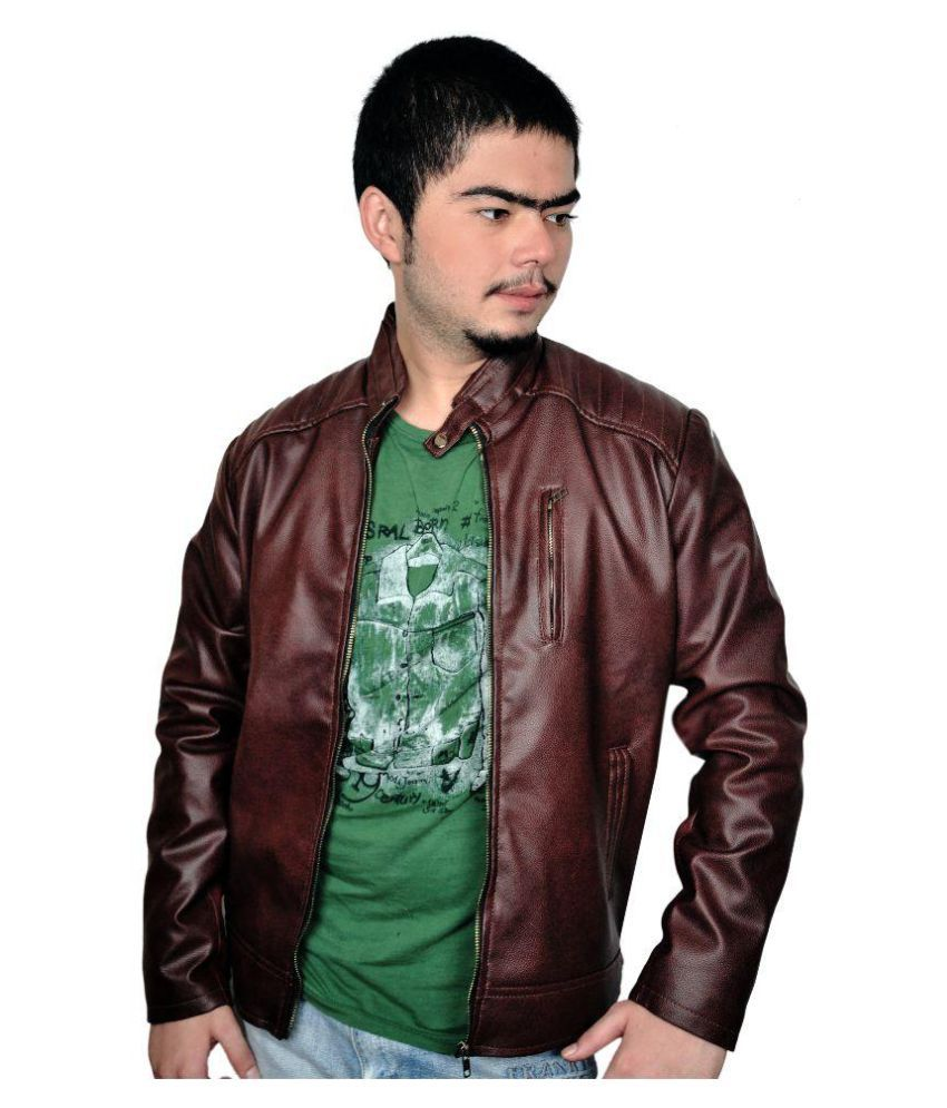 70592a6cfd3f Zara Leather Brown Biker Jacket - Buy Zara Leather Brown Biker Jacket Online  at Best Prices in India on Snapdeal
