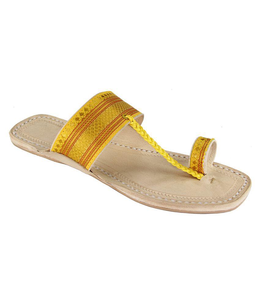 eKolhapuri Gold Flat Ethnic Footwear