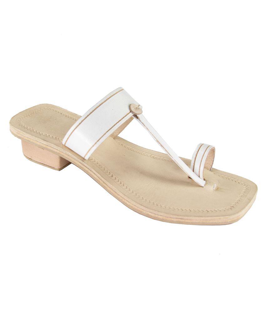 eKolhapuri White Block Heels