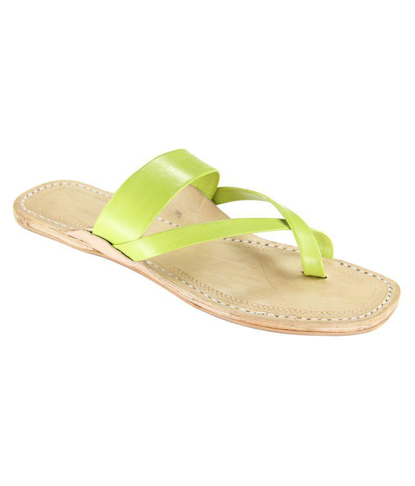 eKolhapuri Green Flat Ethnic Footwear