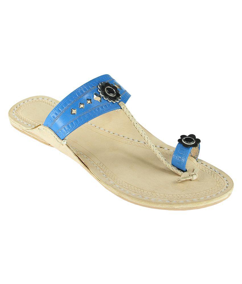 eKolhapuri Blue Flat Ethnic Footwear