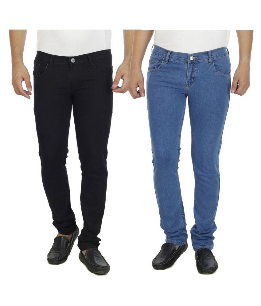 AtLast Multi Slim Solid Jeans - Pack of 2