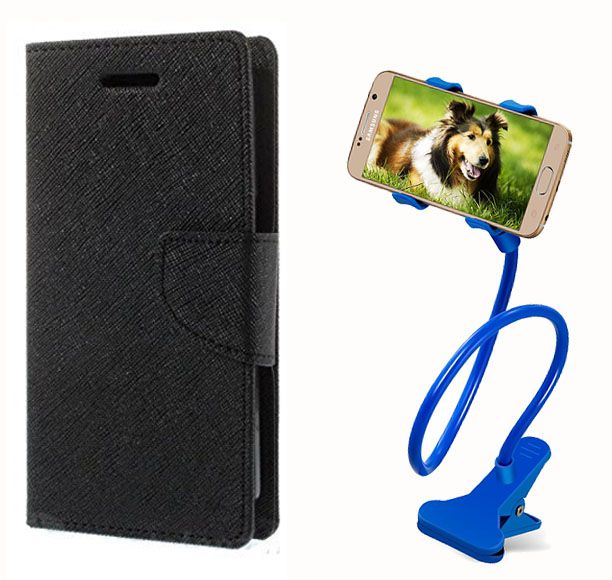 Flip Case Back Cover For Lenovo K4 Note(Black) + 360 Rotating Lazy  Bed Moblie Stand for by Style crome.