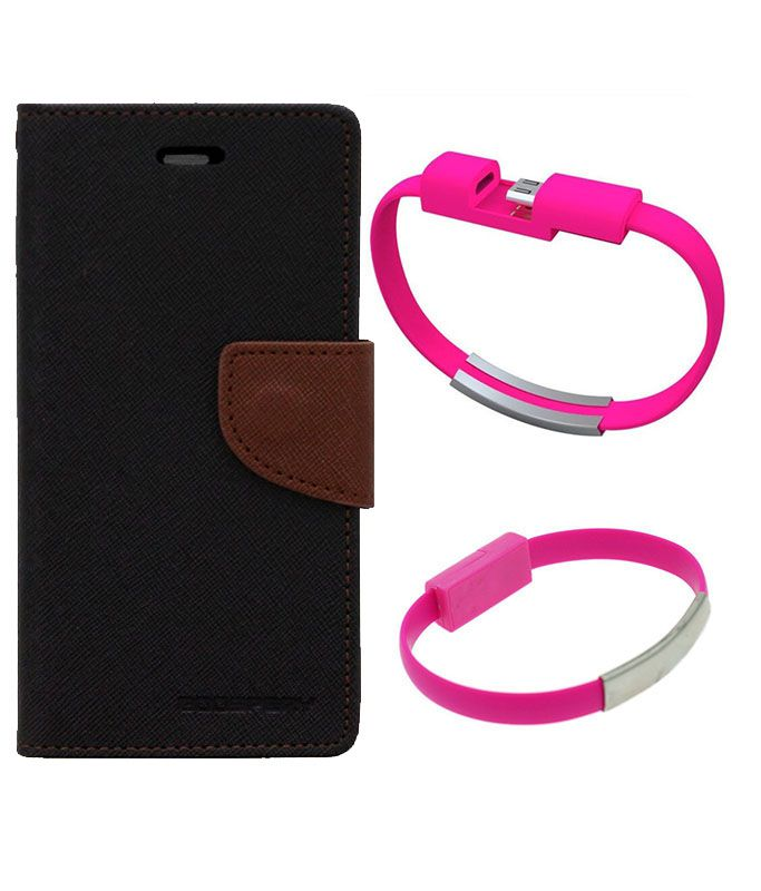 Wallet Flip Case Back Cover For HTC516-(Blackbrown)+USB Bracelet Cable Charging for all smart phones by Style Crome.