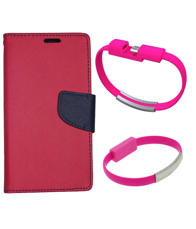 Wallet Flip Case Back Cover For Samsung A3-(Red)+USB Bracelet Cable Charging for all smart phones by Style Crome.