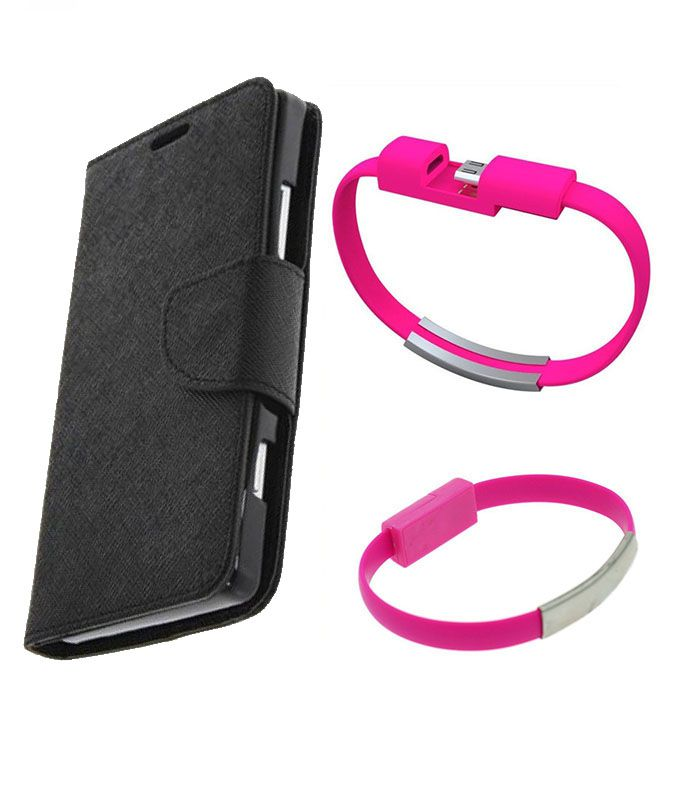 Wallet Flip Case Back Cover For Micromax A120 -(Black)+USB Bracelet Cable Charging for all smart phones by Style Crome.