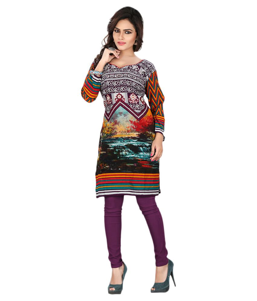 Lookslady Multicoloured Cotton Straight Kurti
