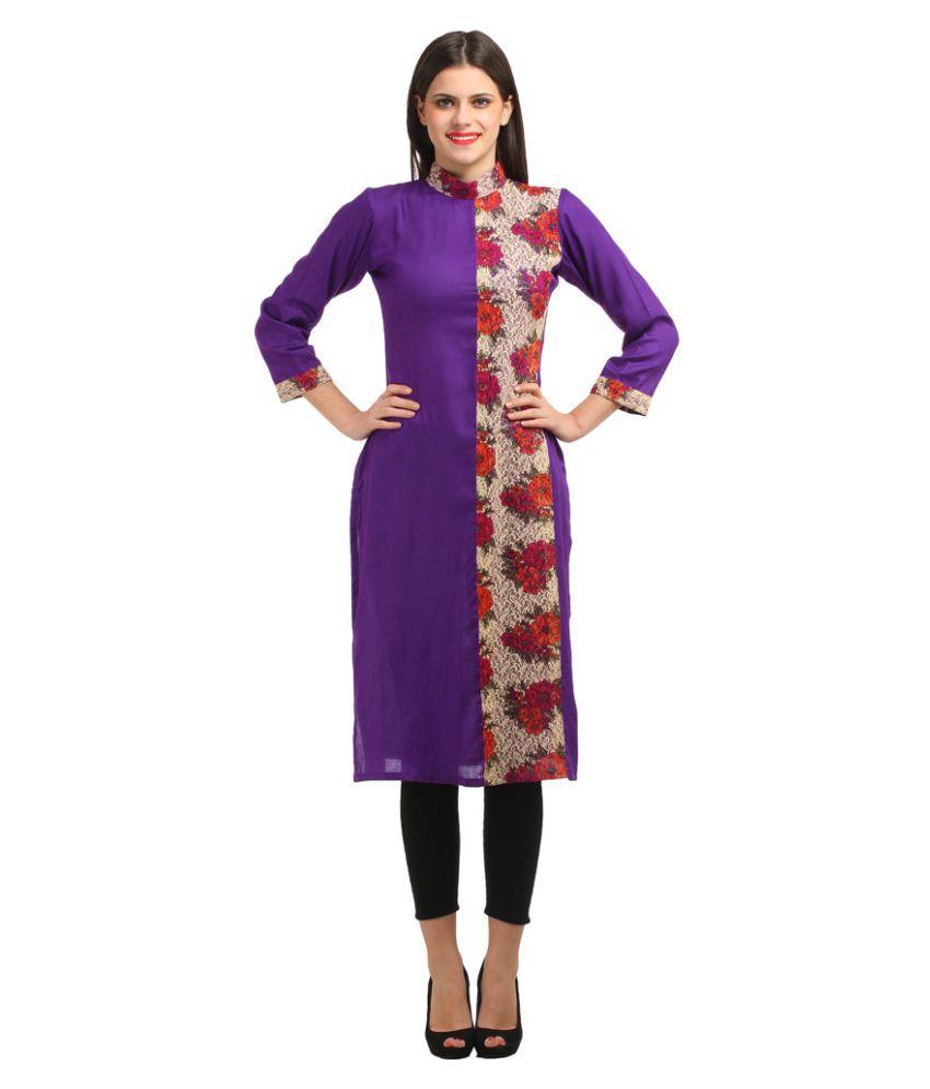 Lookslady Purple Rayon Straight Kurti