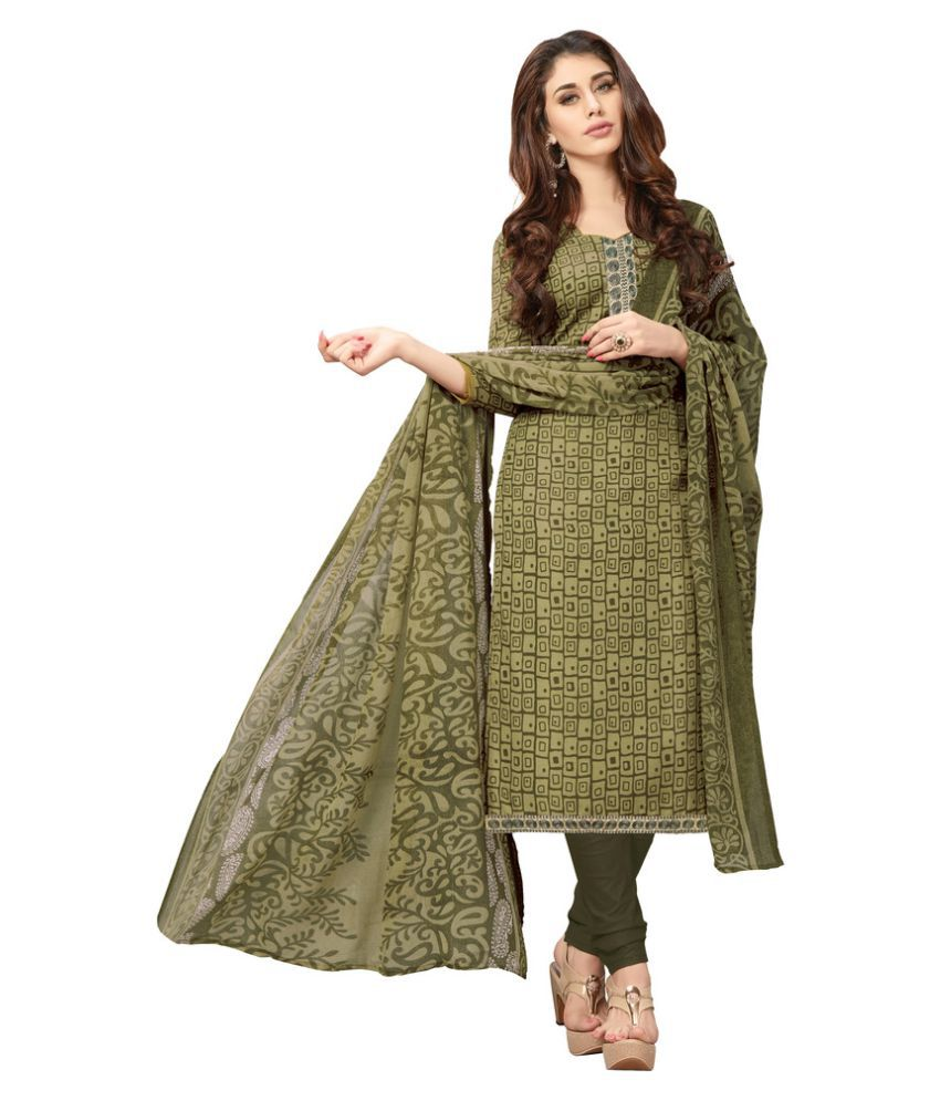 Parisha Olive Green Cotton Dress Material