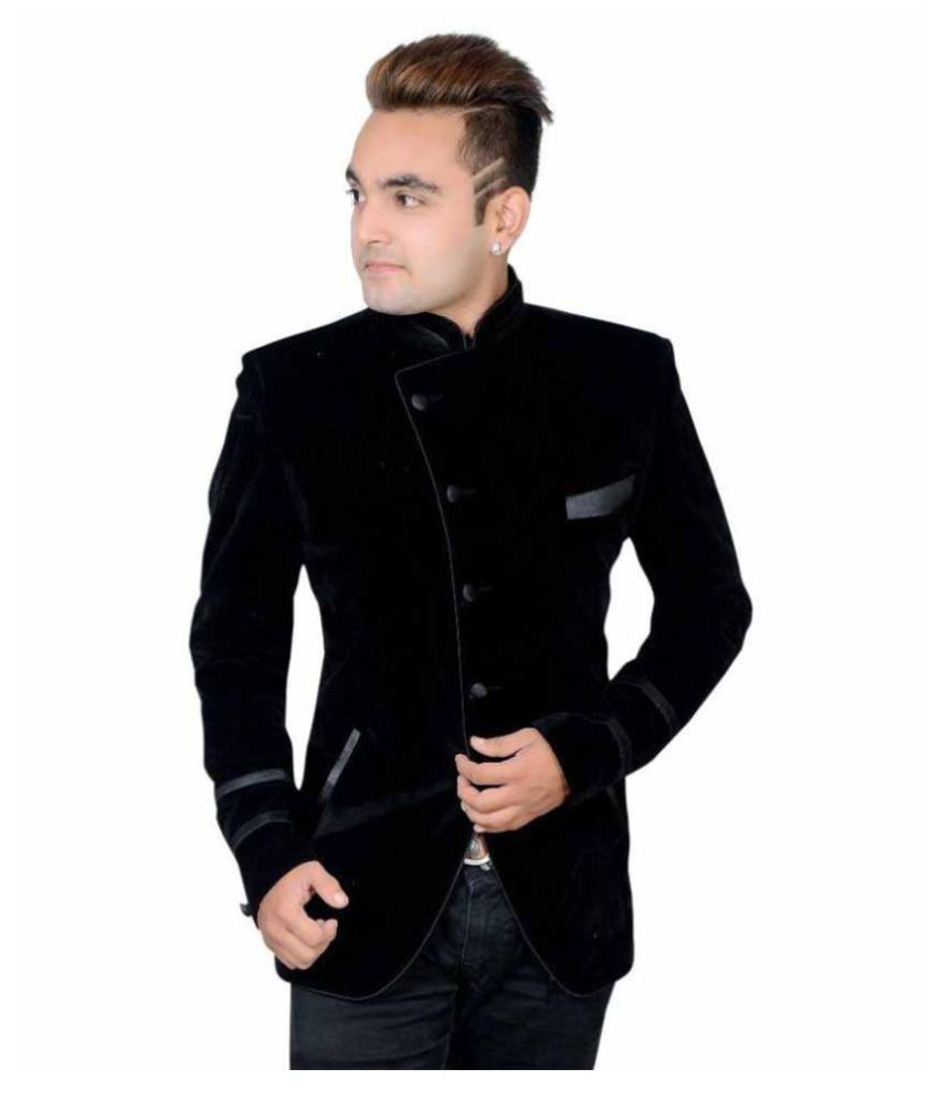 Shaurya-F Black Plain Party Tuxedo
