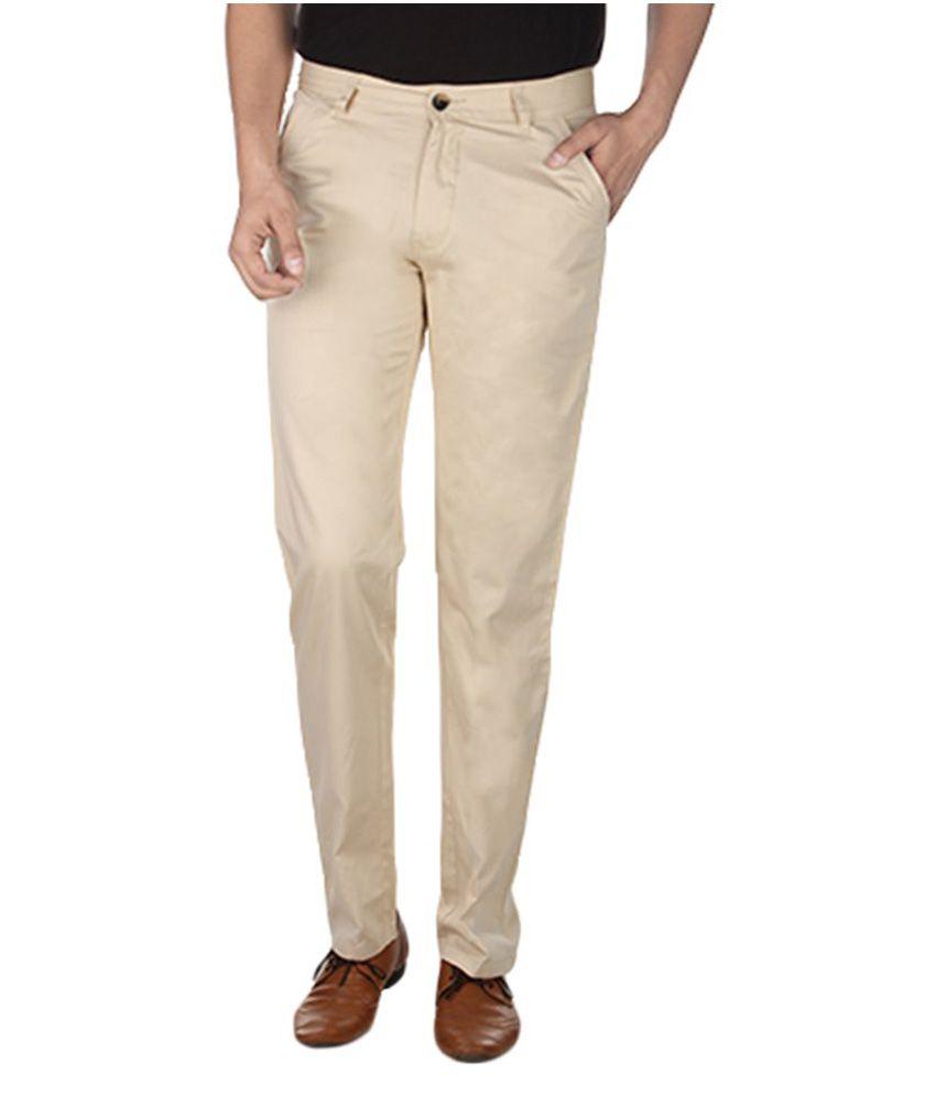 Havello Beige Slim Flat Trouser