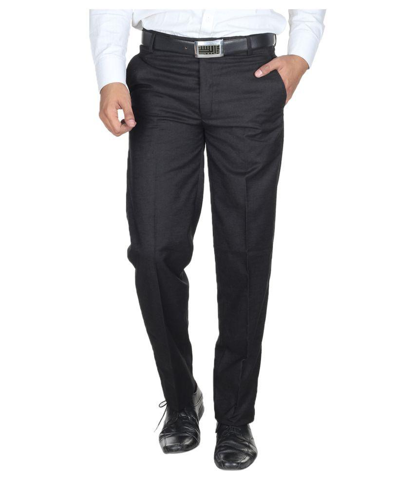 Havello Black Slim Flat Trouser