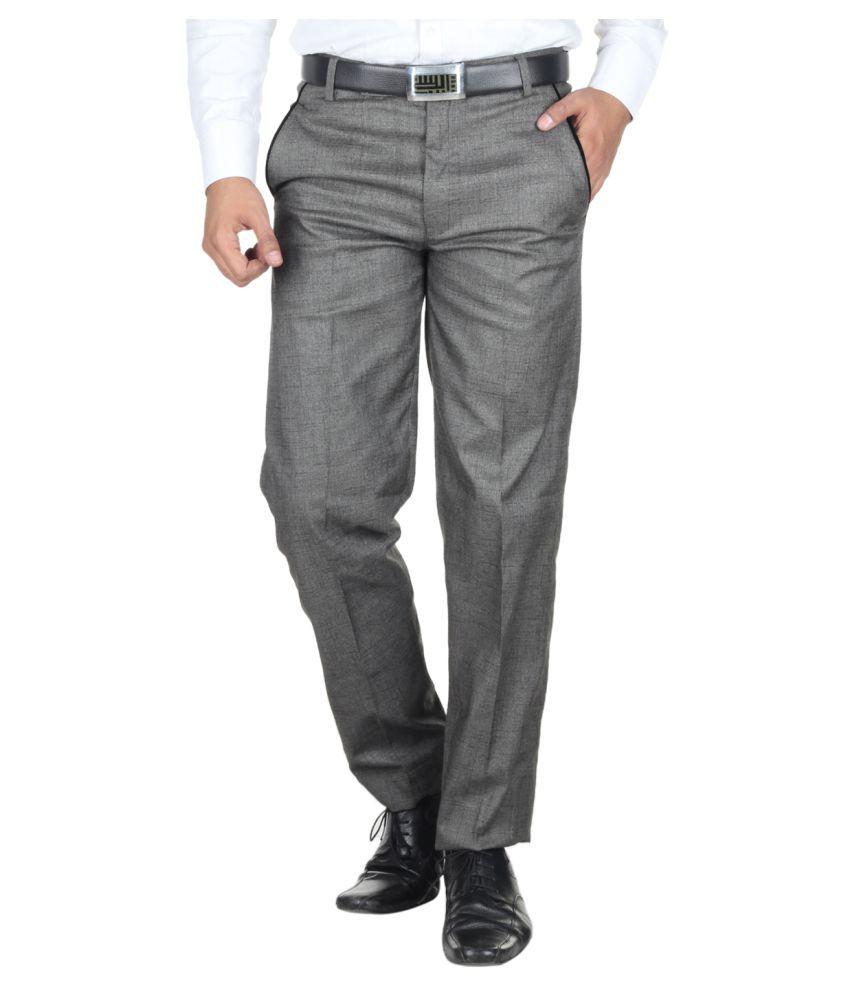 Havello Grey Slim Flat Trouser