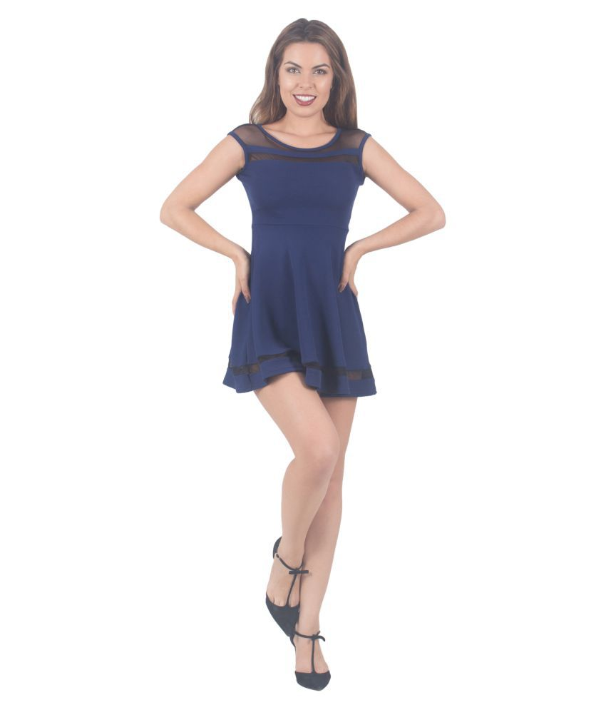 G & M Collections Blue Georgette A- line