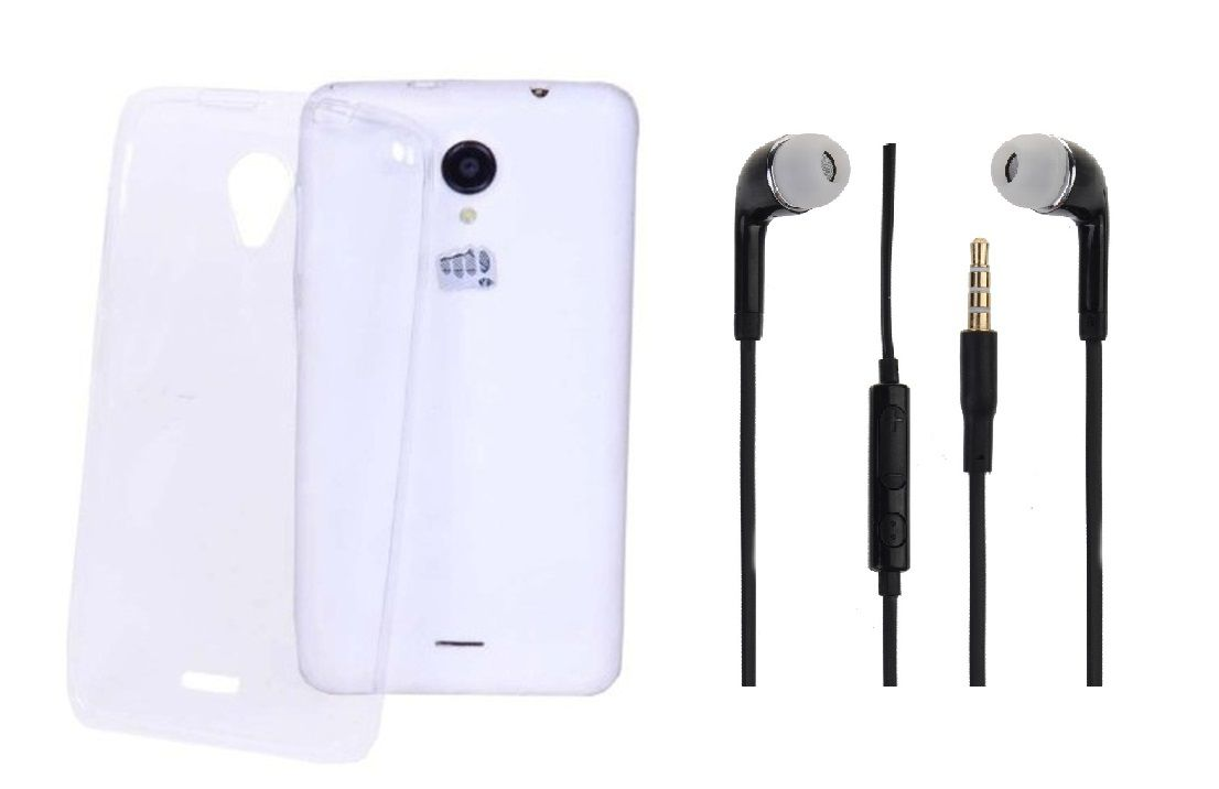 Micromax Unite 2 A106 Transparent Back Cover and 3.5mm Stereo Dynamic Earphones by iCopertina