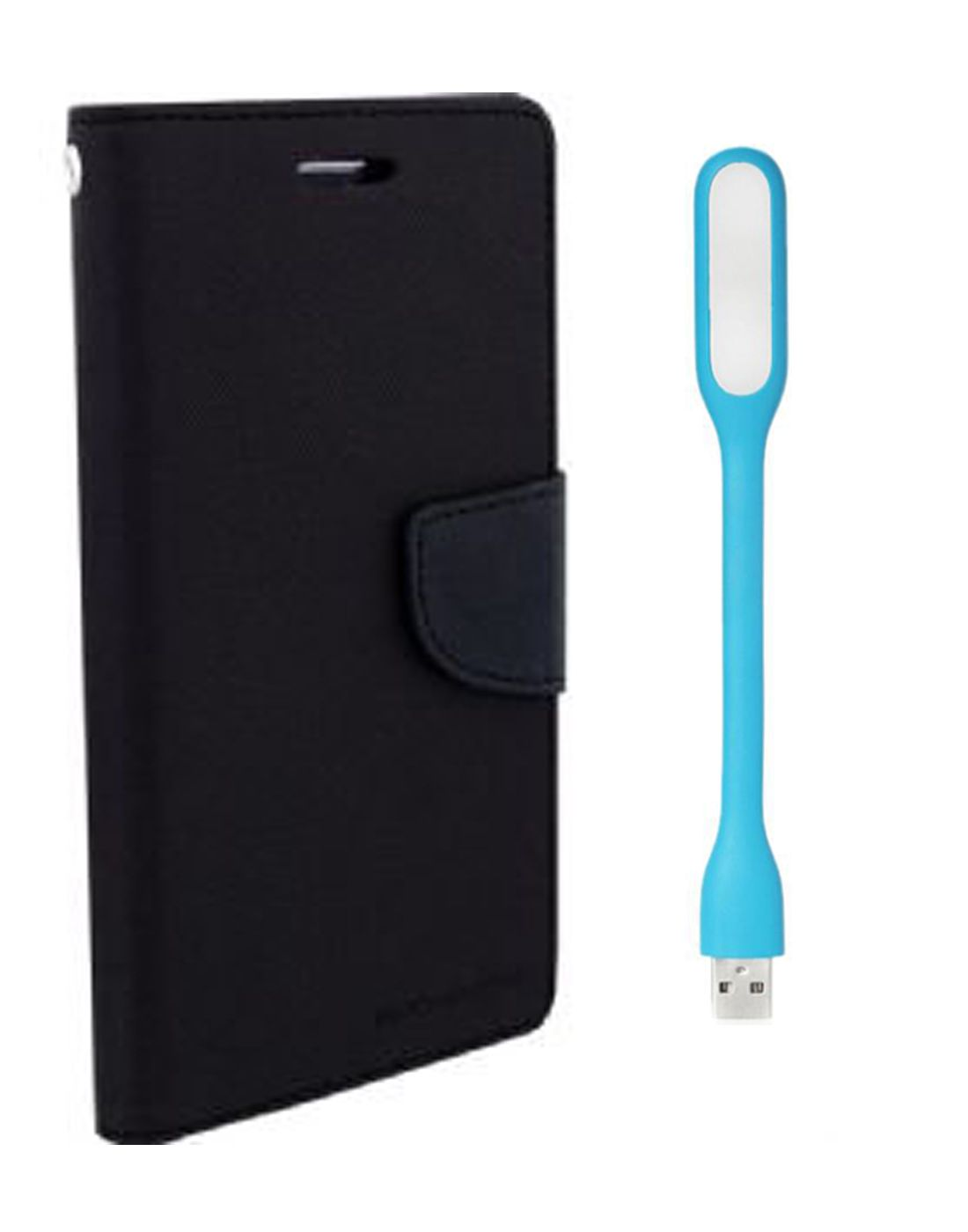 Wallet Flip Case Back Cover For Nokia 535 - (Black) + Flexible Mini LED Stick Lamp Light By Style Crome