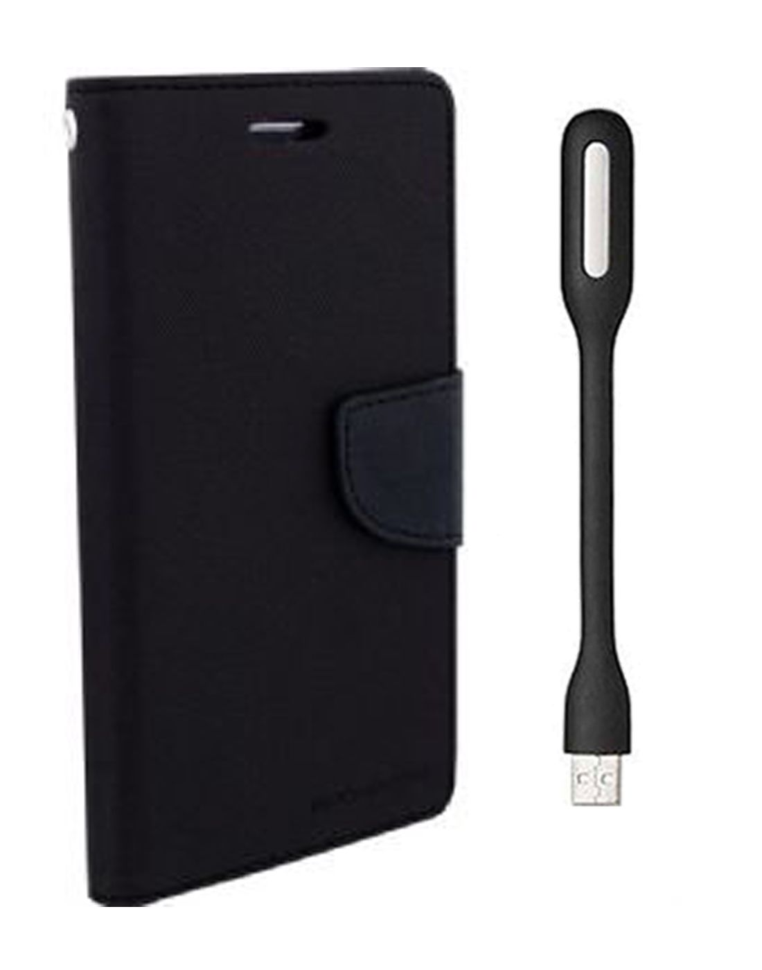 Wallet Flip Case Back Cover For Micromax Uuphoria -(Black) + Flexible Mini LED Stick Lamp Light By Style Crome