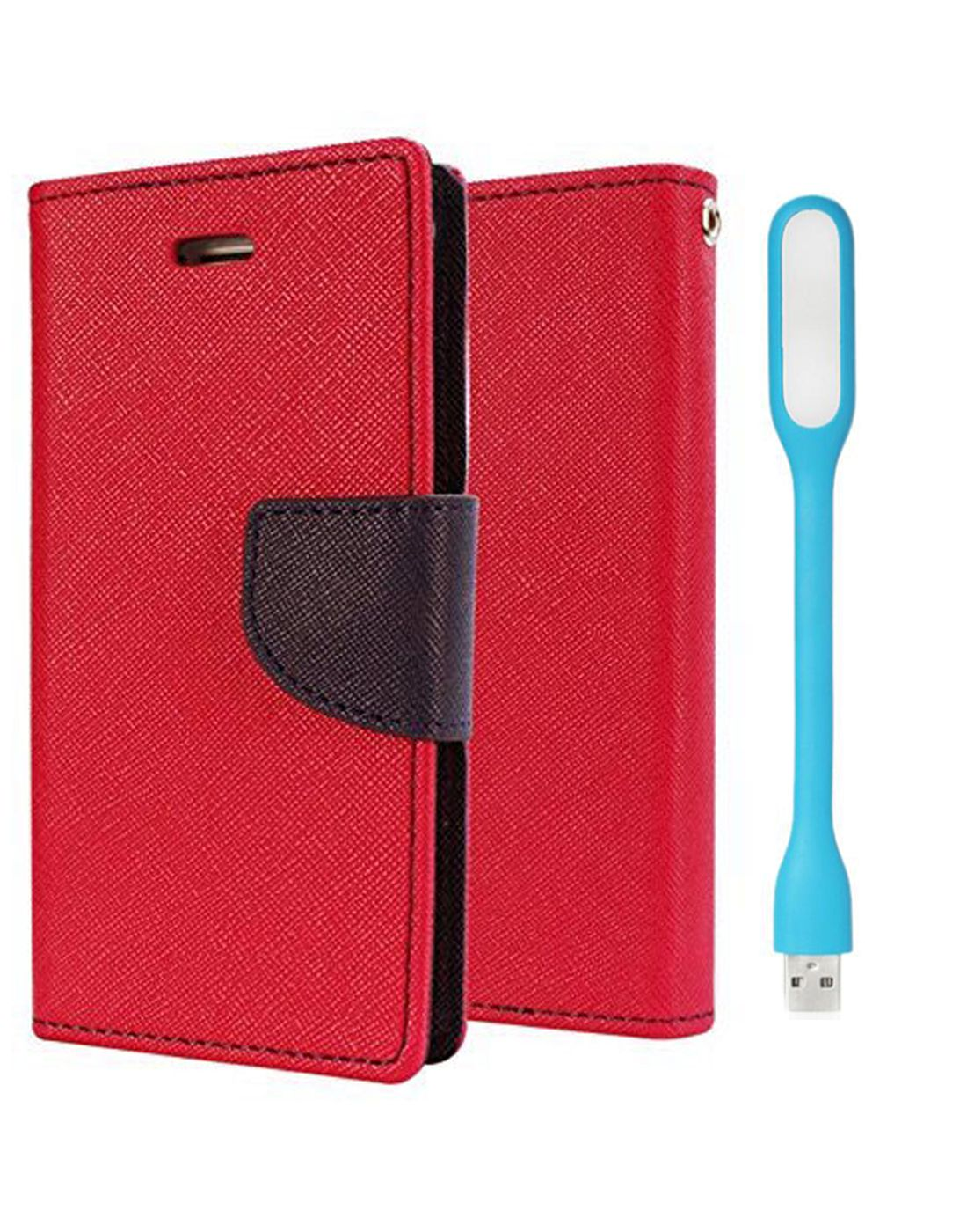 Wallet Flip Case Back Cover For Samsung E5 - (Red) + Flexible Mini LED Stick Lamp Light By Style Crome