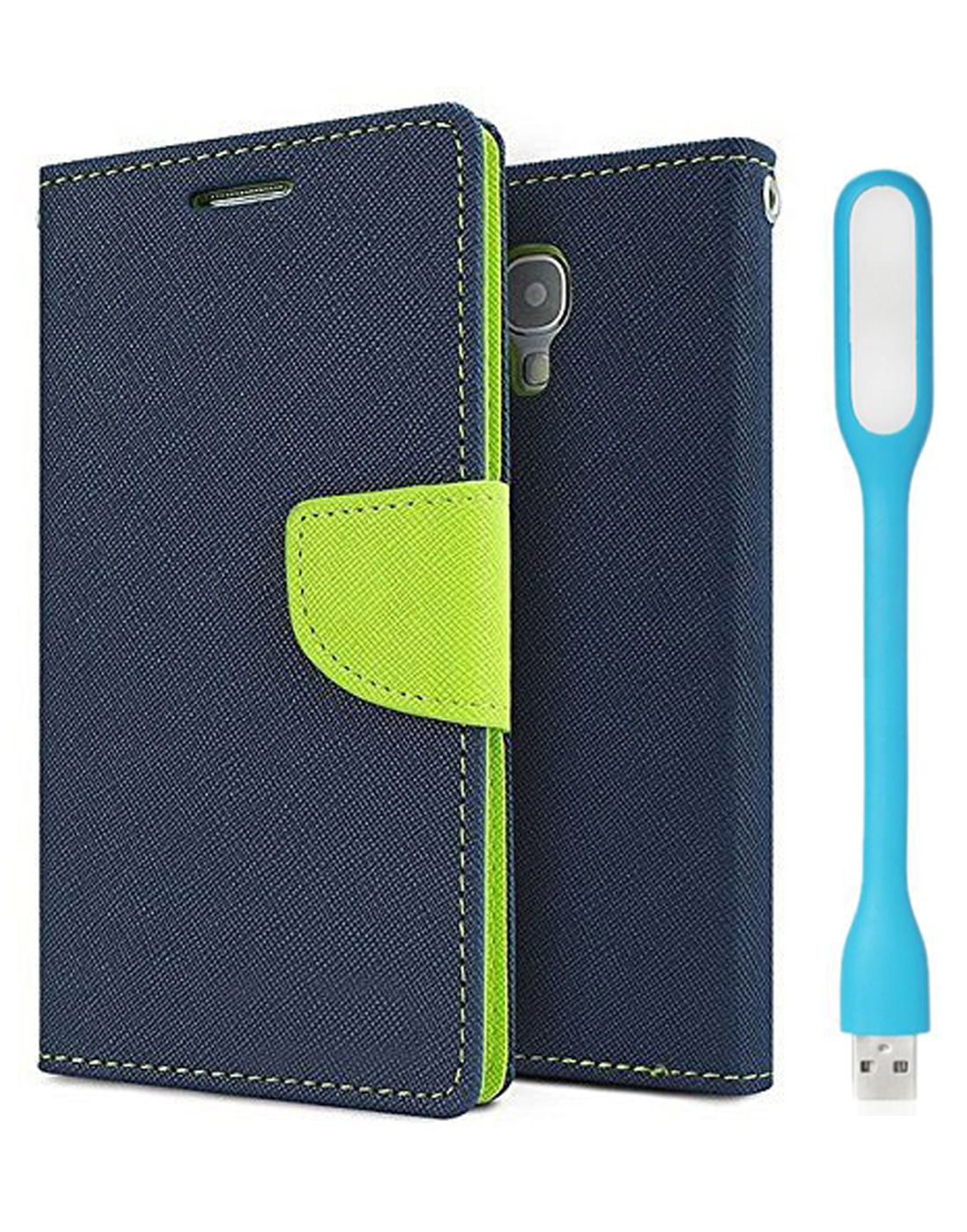 Wallet Flip Case Back Cover For Micromax A120 - (Blue) + Flexible Mini LED Stick Lamp Light By Style Crome