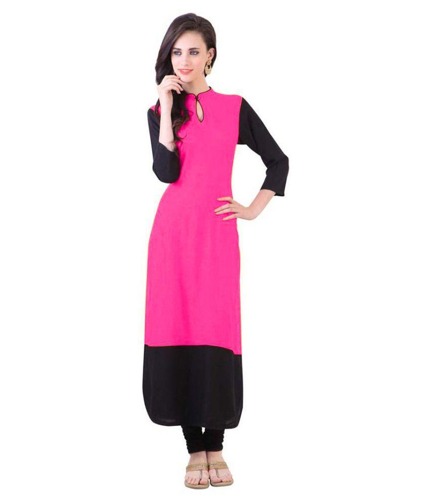 The Ethnic Chic Pink Cotton Straight Kurti