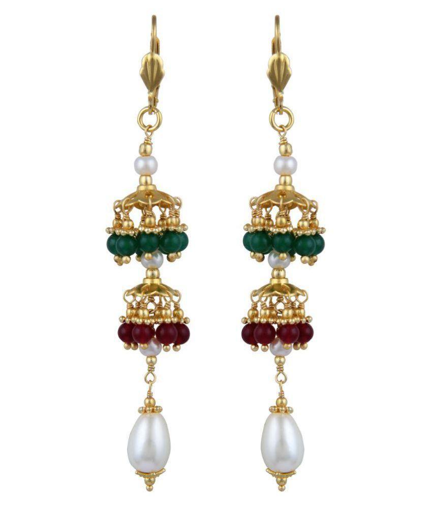 Pearlz Ocean Pearl Studded Multicolour Drop Earrings