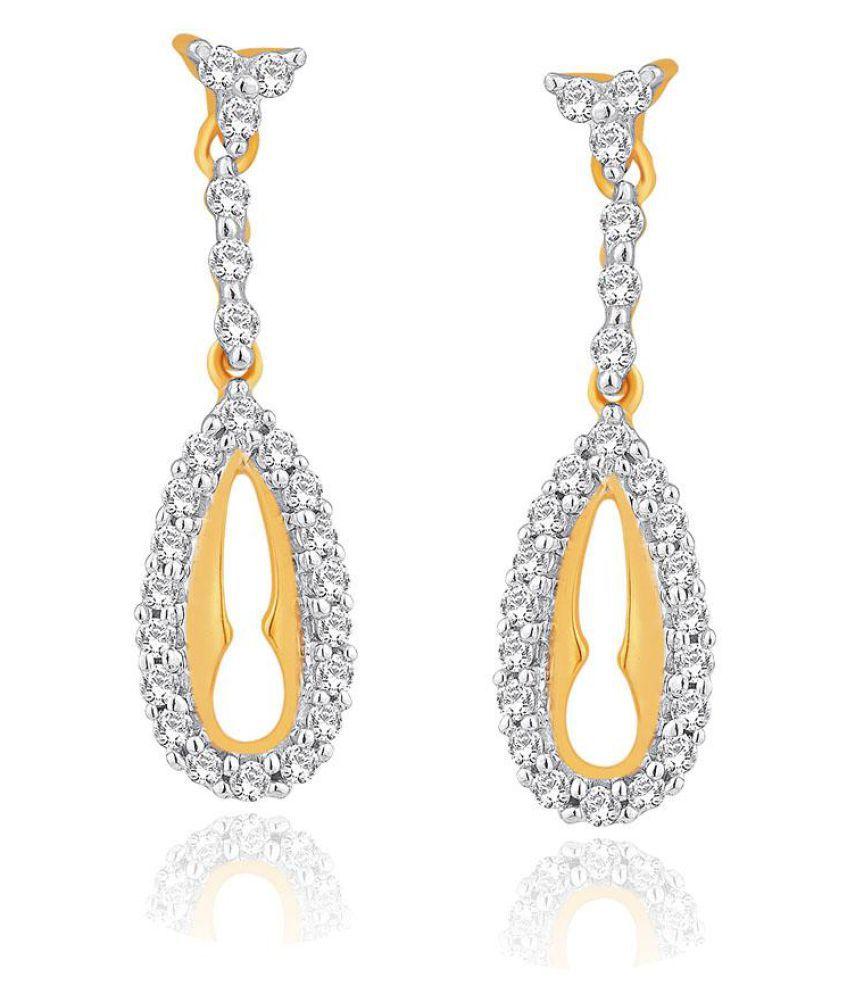 Asmi 18k BIS Hallmarked Yellow Gold Diamond Drop Earrings