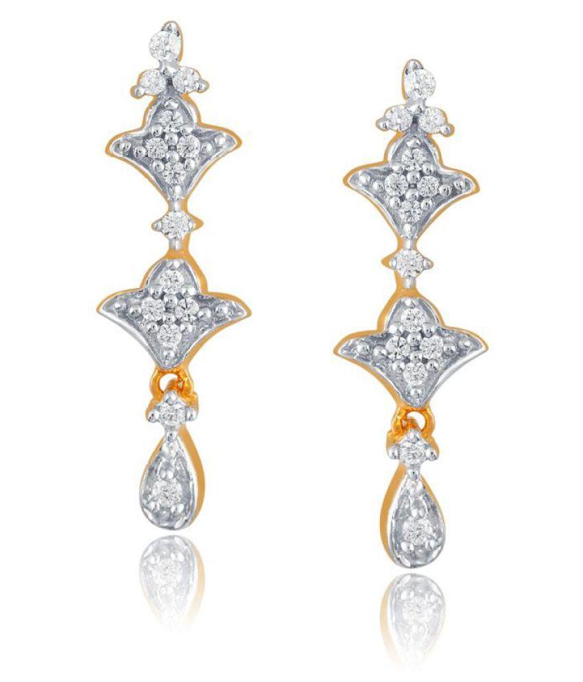 Sangini 18k BIS Hallmarked Yellow Gold Diamond Drop Earrings