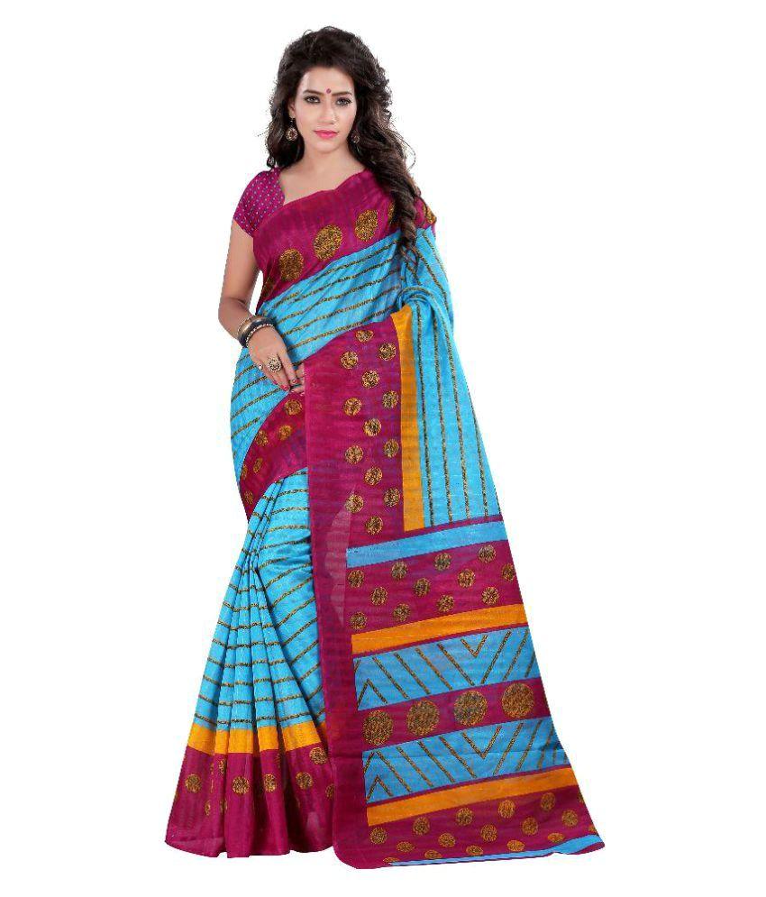 Ativha Saree Multicoloured Bhagalpuri Silk Saree