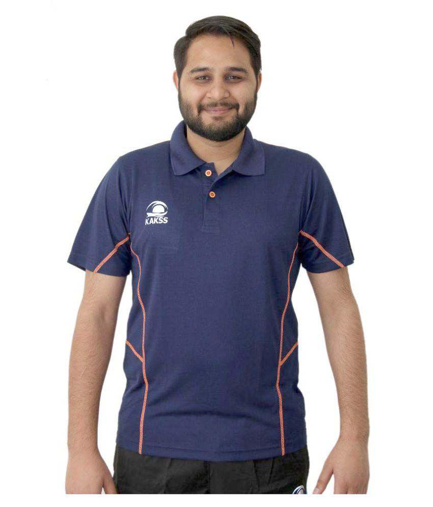 Kakss Navy Polyester Polo T-Shirt