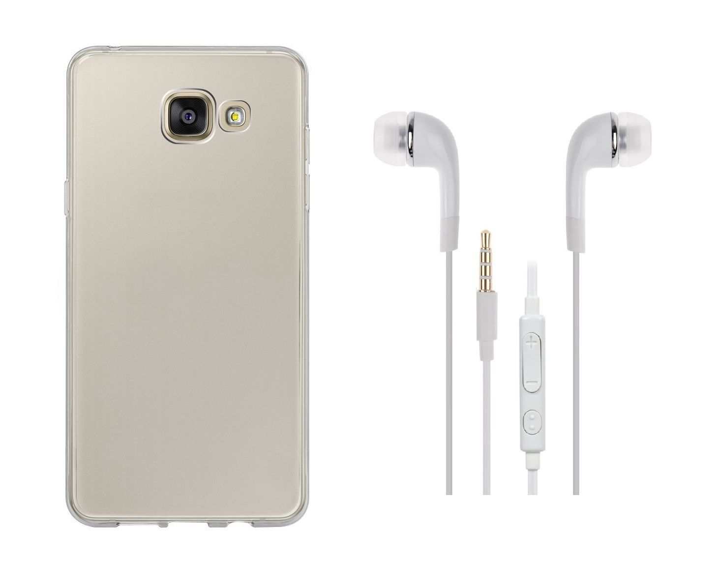 los angeles 43b50 deffb Samsung Galaxy C5 Back Cover transparent and 3.5MM Jack Premium Earphones  White by iCopertina