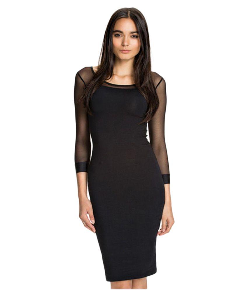 Eve Hanger Black Cotton Bodycon