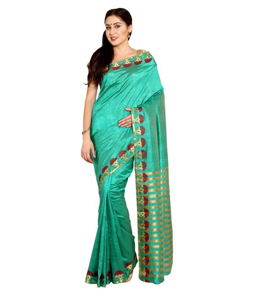 Satrang Green Tussar silk Saree