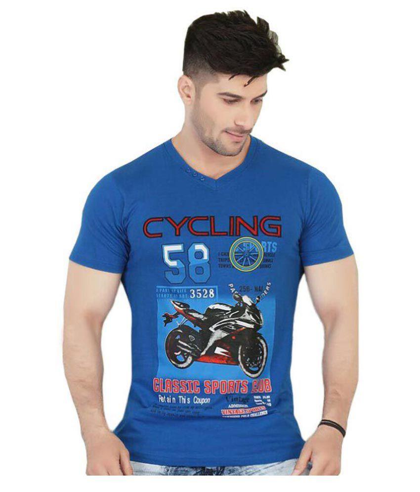 V Plus 9 Blue V-Neck T-Shirt