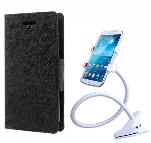 Fancy Flip Case Back Cover For Motorola Moto E2(Black) + 360 Rotating Bed Mobile lazy stand by  Aart store.