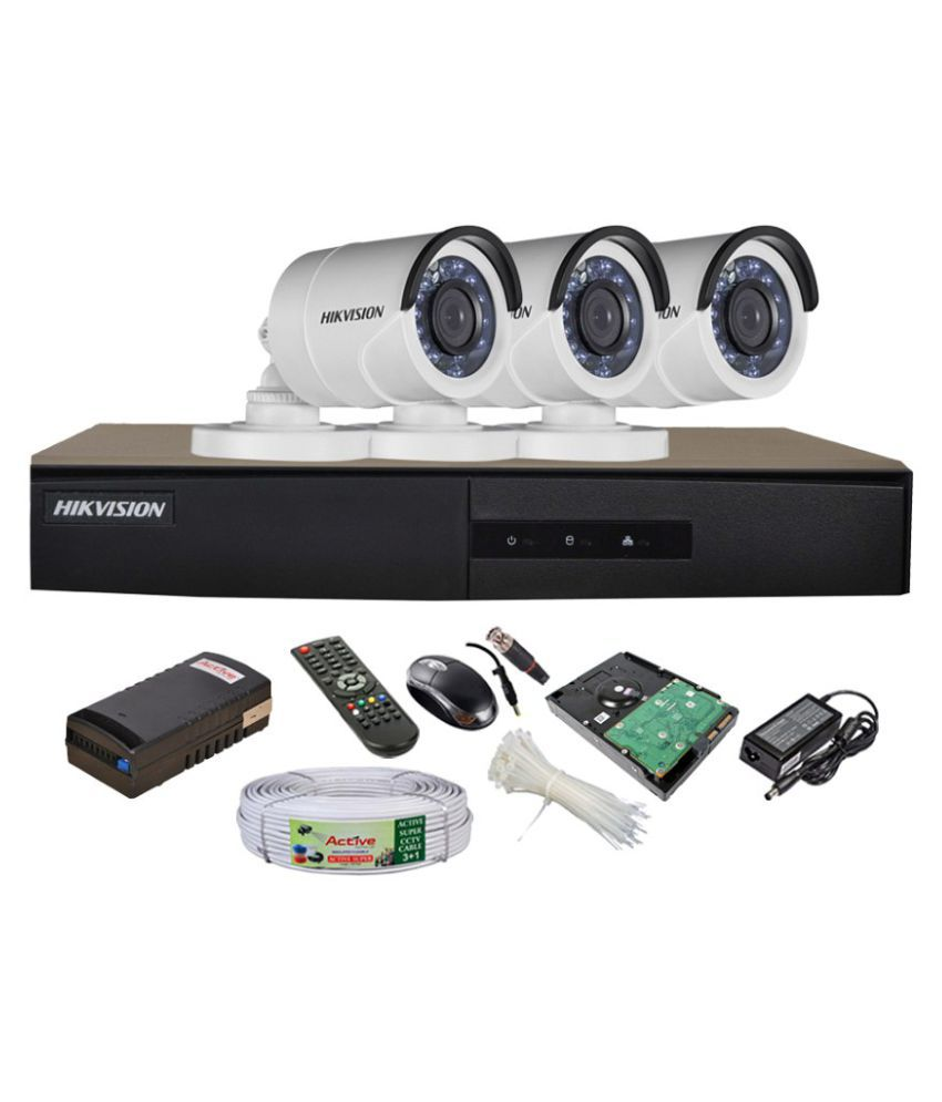 Hikvision DS-7204HGHI-E1 4-Channel Dvr, 3(DS-2CE16C2T-IR) Bullet Cameras (With 1TB HDD, Accessories)