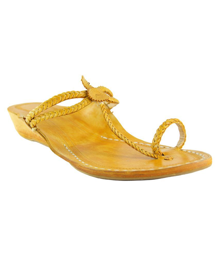 eKolhapuri Yellow Wedges Ethnic Footwear
