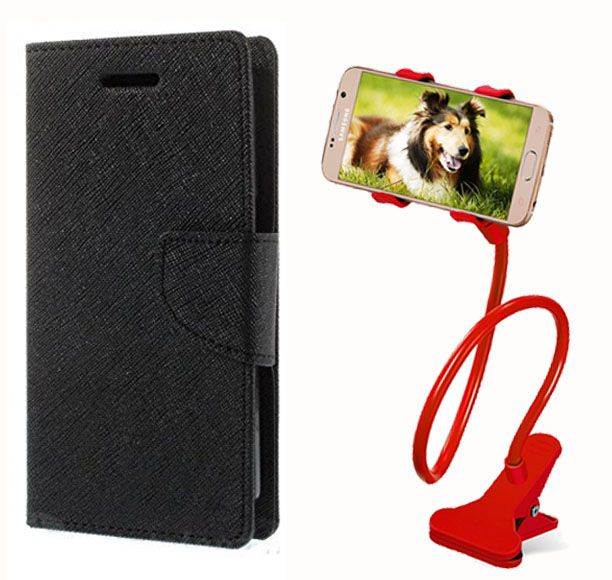 Fancy Flip Case Back Cover For Sony Xperia E4 (BlackBrown) + 360 Rotating Mobile lazy stand by  Aart store.