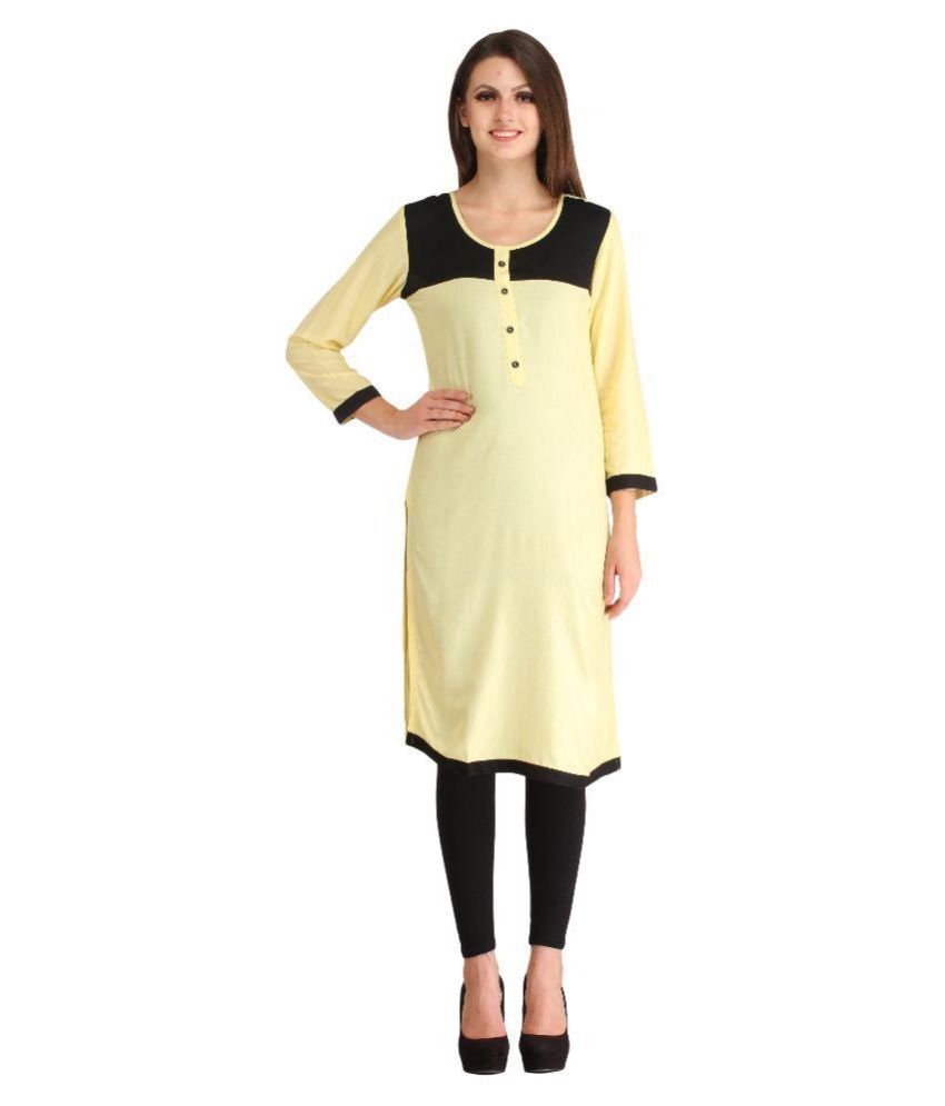 57ada2485 N K Fashion Light Yellow Rayon Straight Kurti - Buy N K Fashion Light Yellow  Rayon Straight Kurti Online at Best Prices in India on Snapdeal