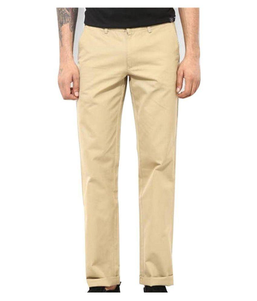 SS Beige Regular Flat Trouser