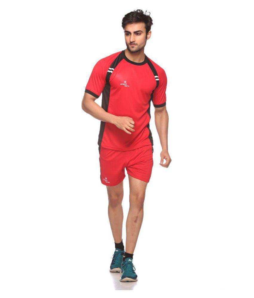 Sport Sun Red Kabaddi T Shirt & Shorts Set for male