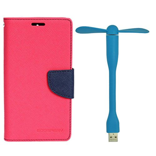 Wallet Flip Case Back Cover For Sony Xperia C5 - (Pink)+Flexible Stylish Mini USB Fan in Blue color By Style Crome