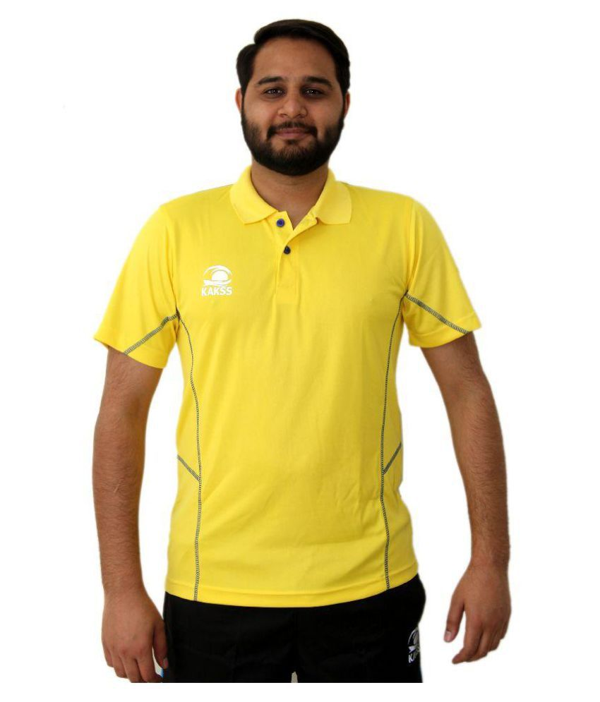 Kakss Yellow Polyester Polo T Shirt