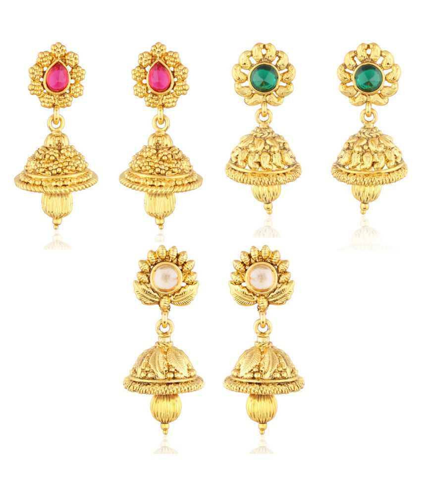 I Jewels Stones Studded Golden Jhumkas - Pack of 3