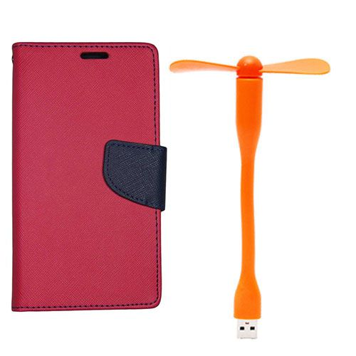 Wallet Flip Case Back Cover For Micromax A110 - (Red)+Flexible Stylish Mini USB Fan in Orange color By Style Crome