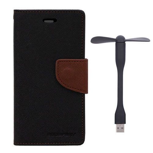 Wallet Flip Case Back Cover For HTC826 - (Blackbrown)+Flexible Stylish Mini USB Fan in Black color By Style Crome