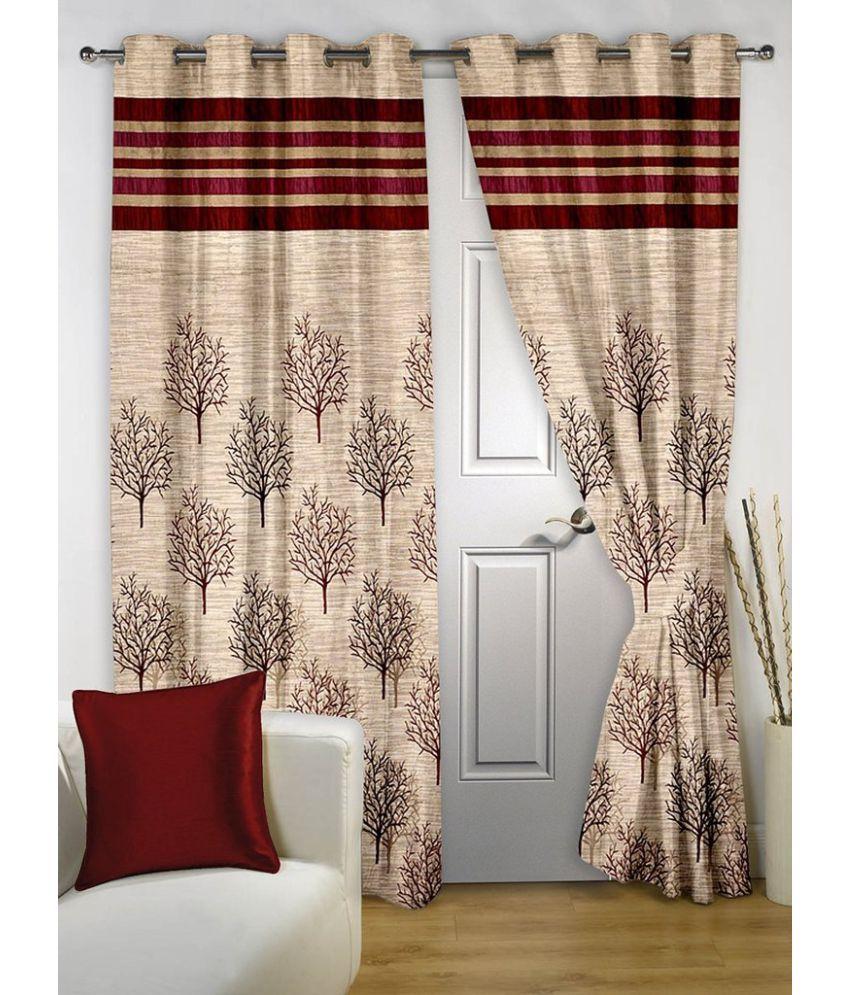 Homefab India Set Of 2 Window Eyelet Curtains Jute Multi Color ...